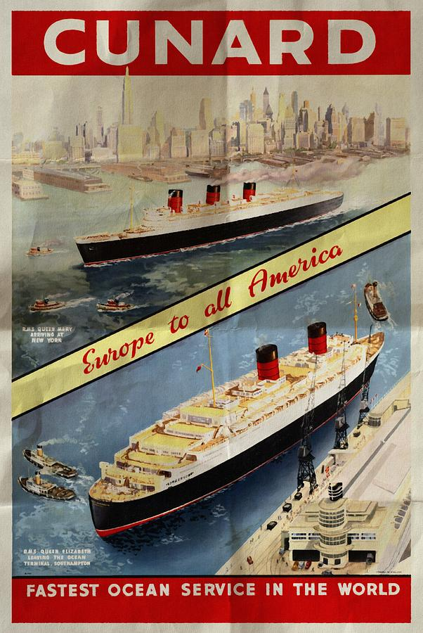 Queen Elizabeth Ocean Liner Advertising Poster Cunard Lines