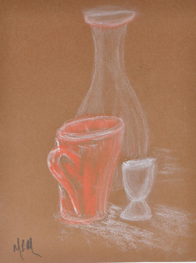 Cup And Bottle Still Painting by MaryBeth Minton