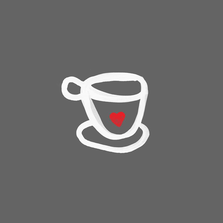 Coffee Painting - Cup Of Love- Shirt by Linda Woods