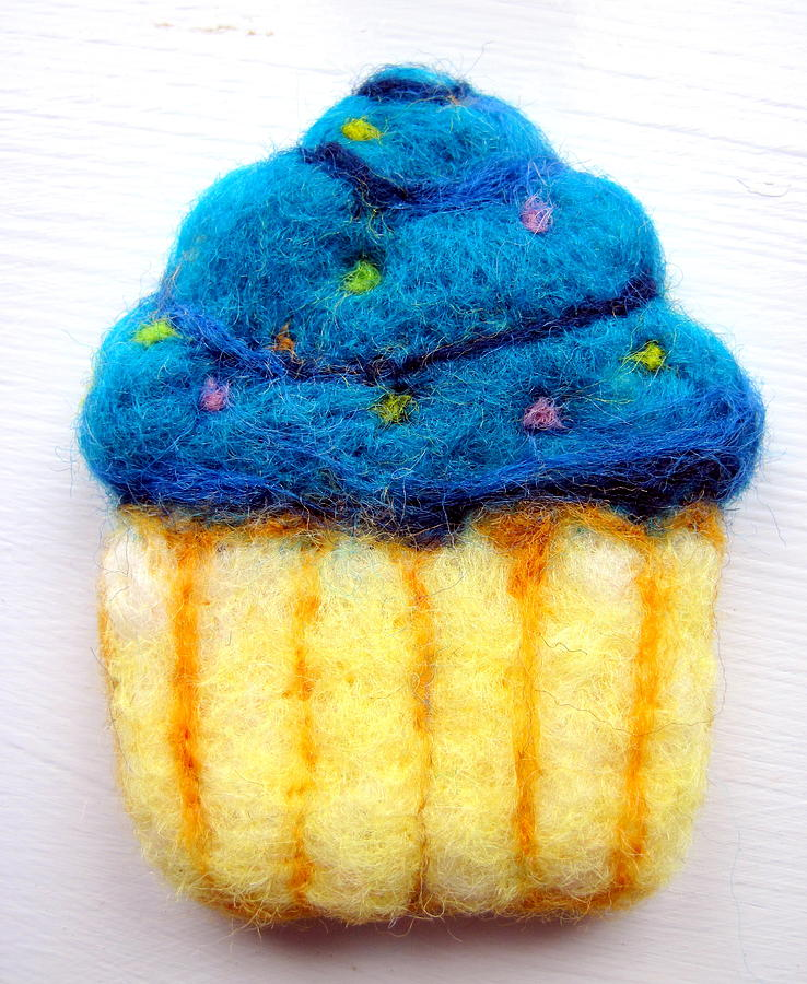 Food Tapestry - Textile - Cupcake Ornament by Kimberly Simon