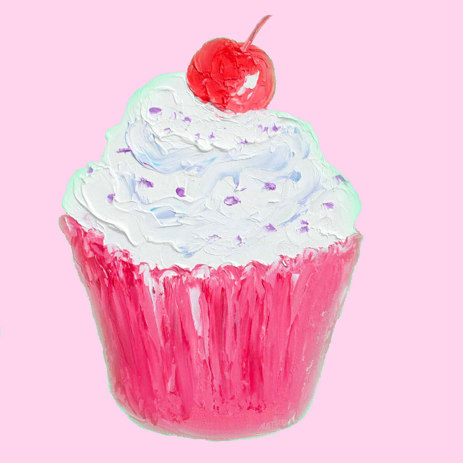 Cupcake Painting - Cupcake Painting On Pink Background by Jan Matson