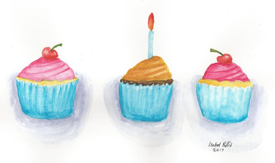 Watercolour Painting - Cupcakes?  by Isabel Proffit