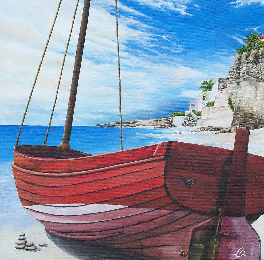 St Maarten Painting - Cupecoy Beach by Cindy D Chinn