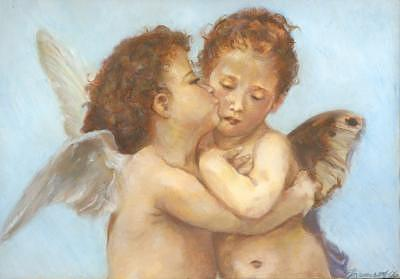 Angel Painting - Cupid And Psyche by Loretta  Thomason