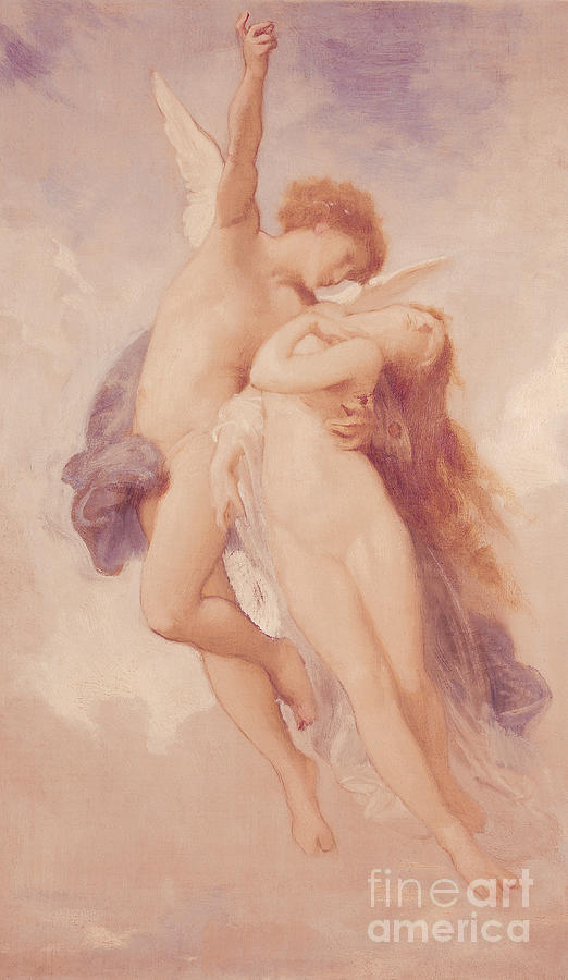 Cupid Painting - Cupid and Psyche by William Adolphe Bouguereau
