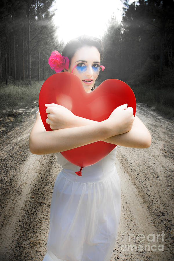 Attractive Photograph - Cupid Hugging Love Heart Balloon by Jorgo Photography - Wall Art Gallery