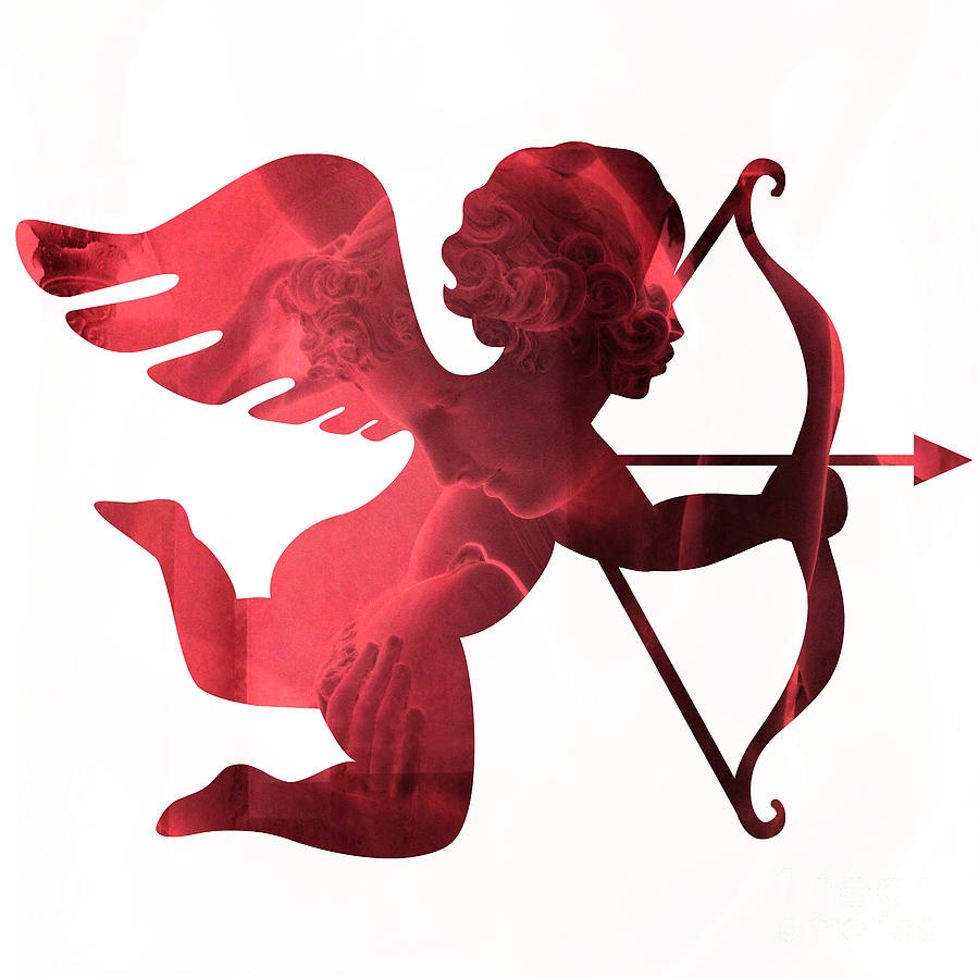 cupid psyche valentine art eros psyche valentine cupid with arrow print red valentine art photograph by kathy fornal