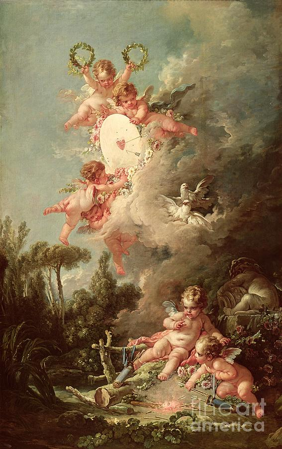 Cupid Painting - Cupids Target by Francois Boucher
