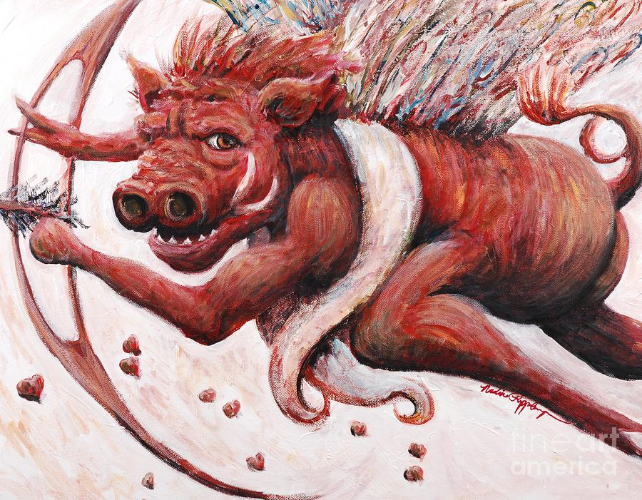 Pig Painting - Cupig by Nadine Rippelmeyer
