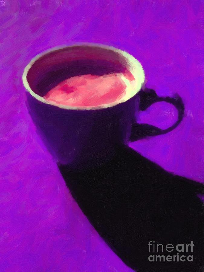 Coffee Photograph - Cuppa Joe - Purple by Wingsdomain Art and Photography