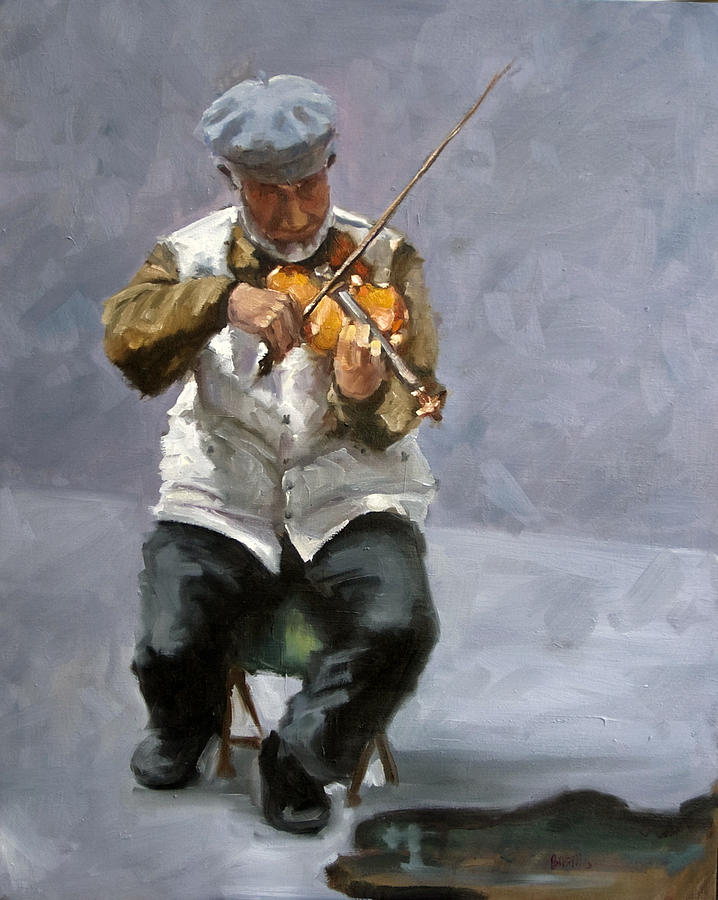 Figure Painting - Curbside Concerto by Kathy Busillo