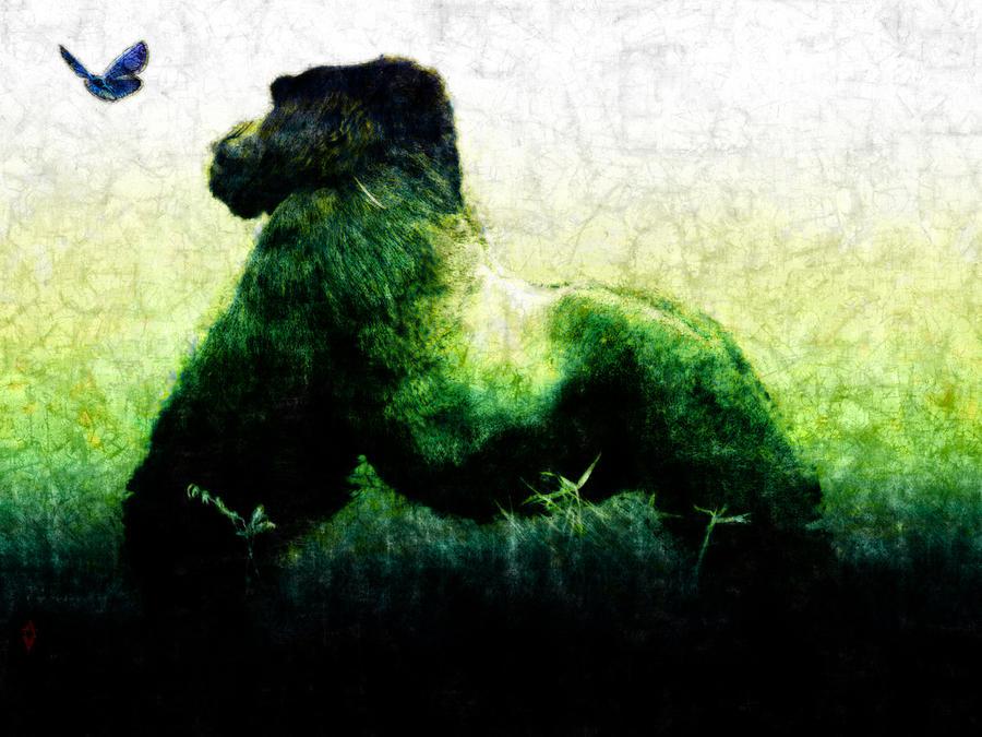 Gorilla Painting - Curiosity by Adam Vance