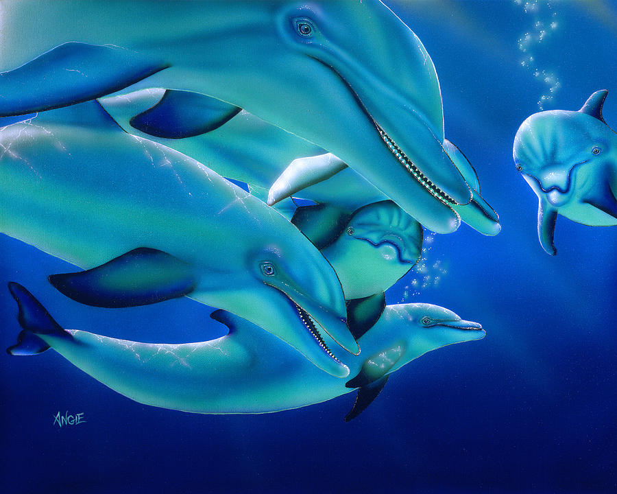 Dolphins Painting - Curiosity by Angie Hamlin