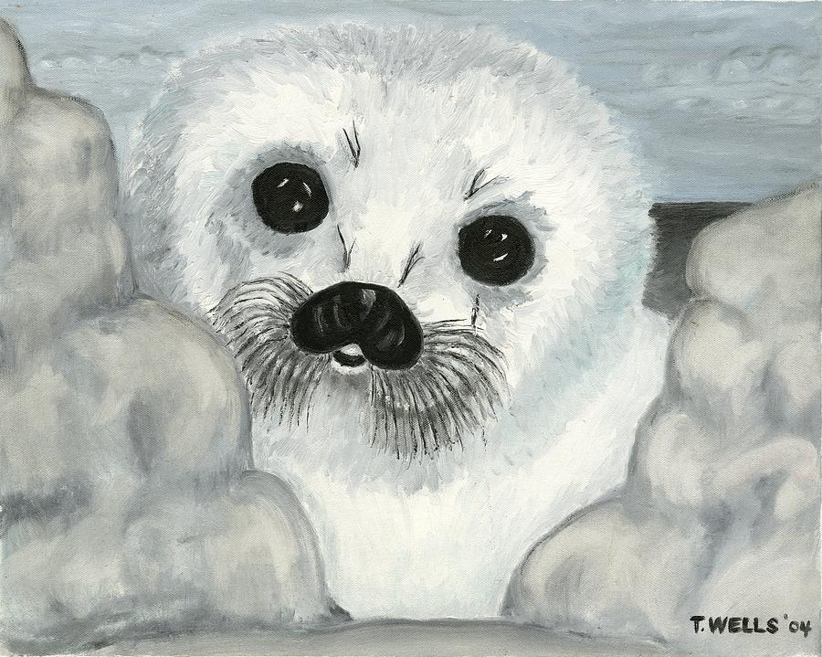Curious Arctic Seal Pup Painting by Tanna Lee M Wells