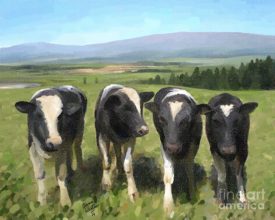 Original Painting - Curious Cows by Ivana Westin