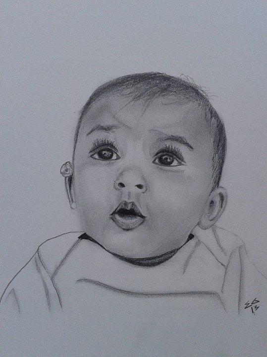 Portrait Drawing - Curious by Ekta Gupta