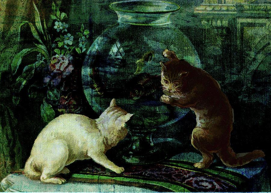 Cats Digital Art - Curious Kittens by Sarah Vernon