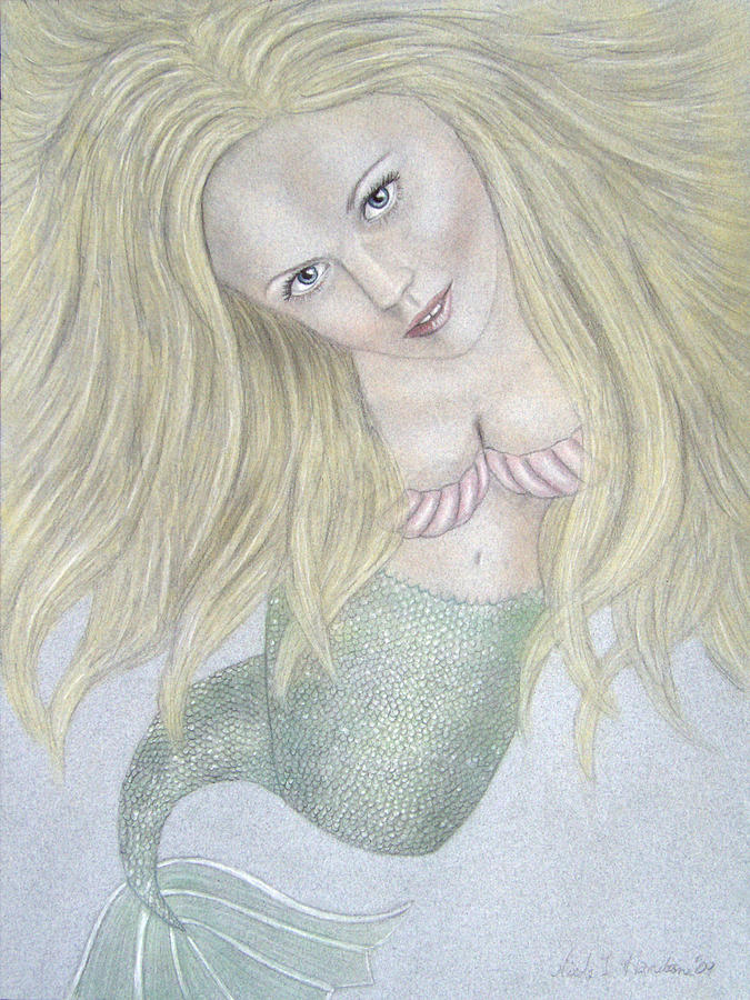Blue Drawing - Curious Mermaid - Graphite And Colored Pastel Chalk by Nicole I Hamilton