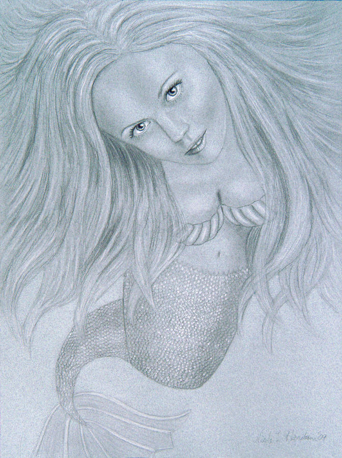 Mermaid Drawing - Curious Mermaid - Graphite And White Pastel Chalk by Nicole I Hamilton