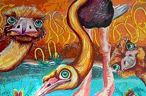 Ostriches Painting - Curious Ostriches by Andrea  Darlington