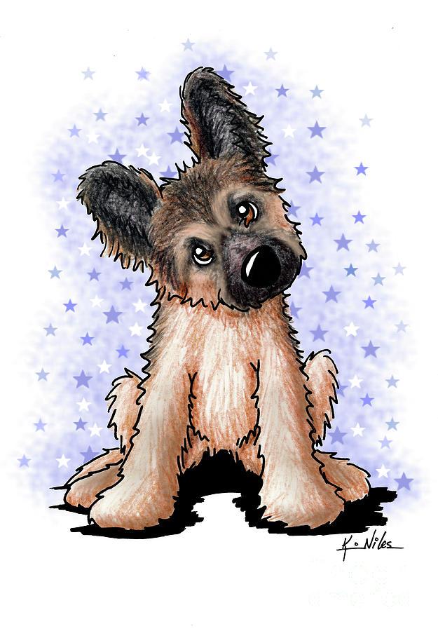 Shepherd Drawing - Curious Shepherd Puppy by Kim Niles