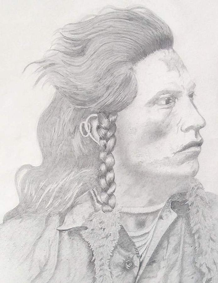 Curley Drawing - Curley - Crow Scout For Custer by Cat Lee Jones