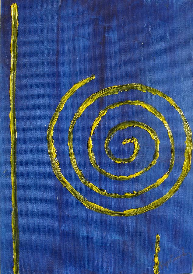 Curlicue Yellow Painting by Roger Cummiskey