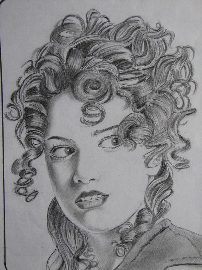 Curly  Hair  Girl  Drawing  by Mayur Jadhav