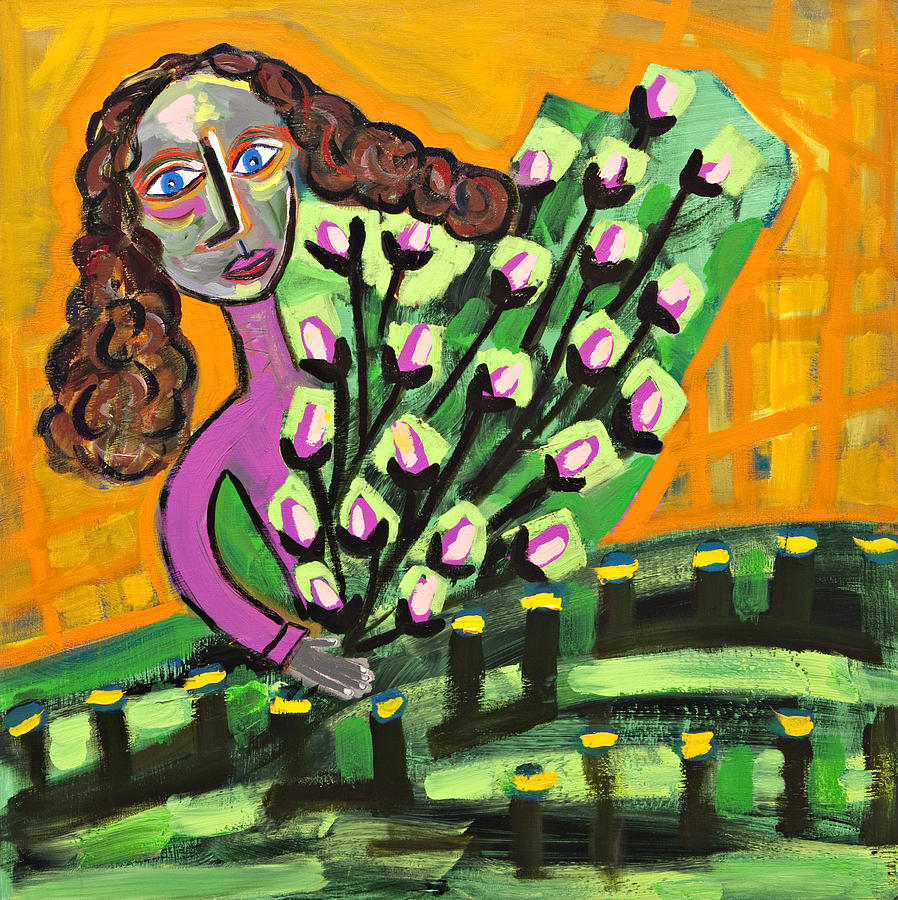 Abstract Painting - Curly Hair Lady With Pink Flowers by Maggis Art