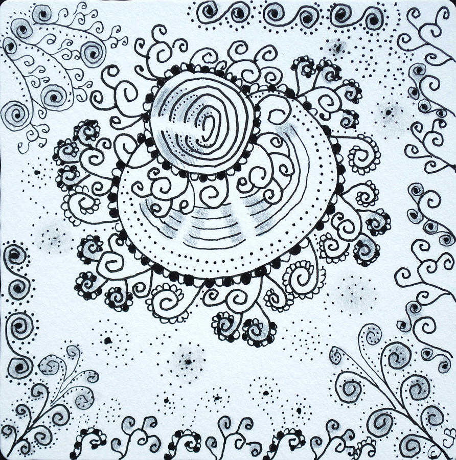 Zentangle Drawing - Curly by Carole Brecht
