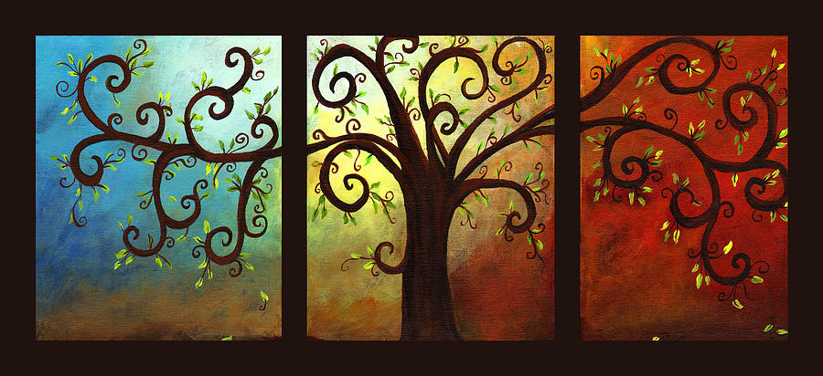 Curly Tree Triptych Painting by Elaine Hodges
