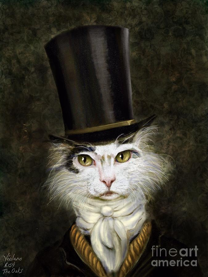 Cat Painting - Curmudgeon Cat by Stella Violano