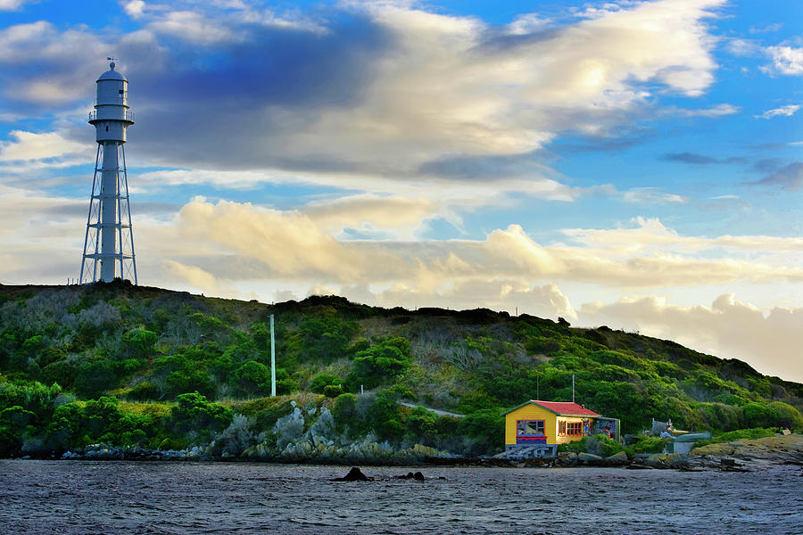 King Island Photograph - Currie Boat House And Light House. by Sean Davey