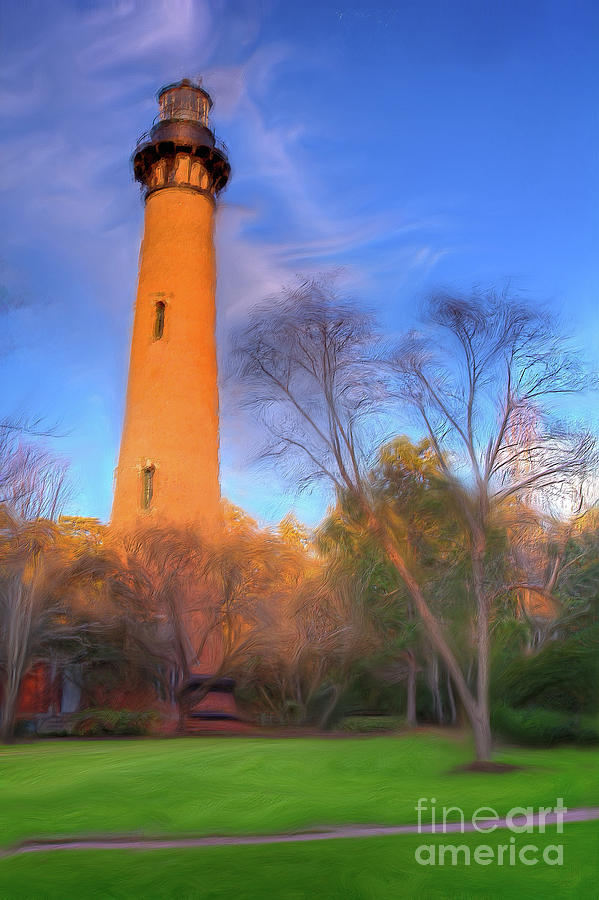 Currituck Painting - Currituck Lighthouse In Winter Outer Banks Ap by Dan Carmichael