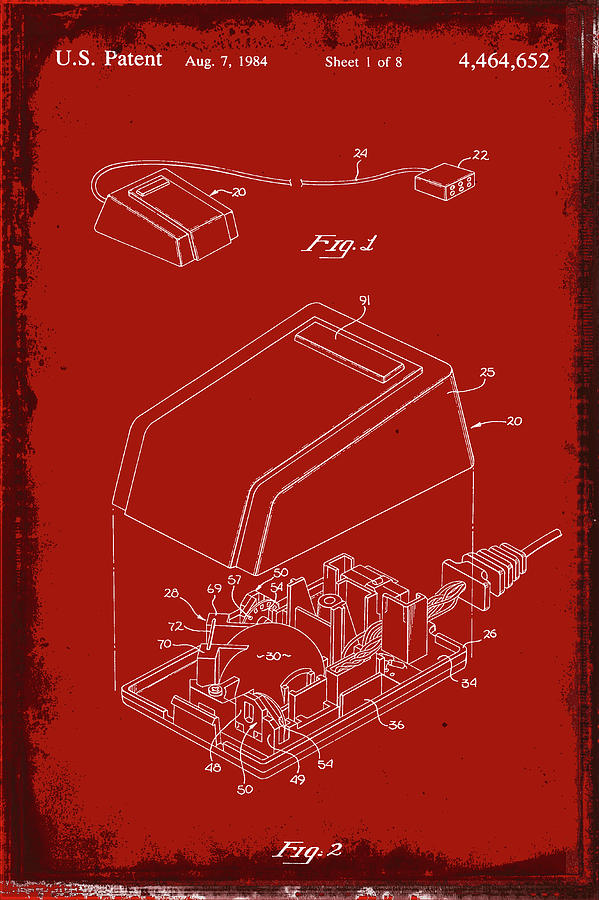 Patent Mixed Media - Cursor Control Device Patent Drawing 1n by Brian Reaves