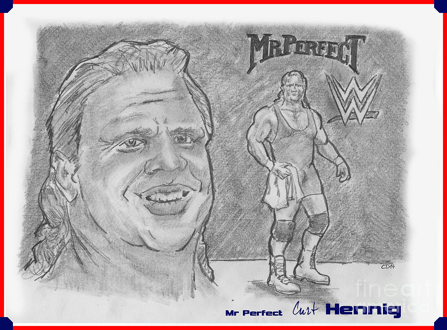 Wwe Drawing - Curt Hennig- Mr Perfect by Chris  DelVecchio