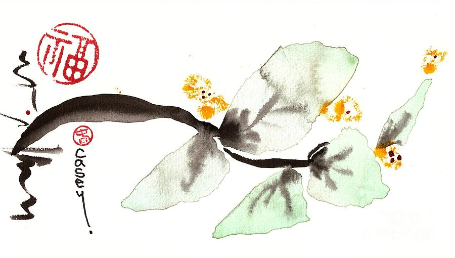 Sumi Painting - Curving Leafy Green by Casey Shannon