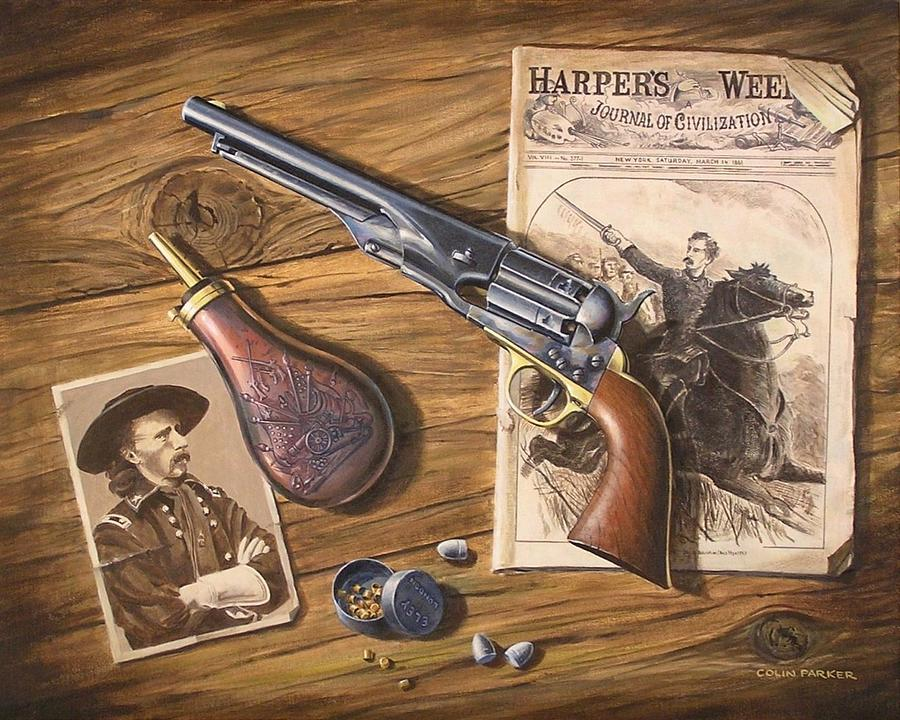 Weapons Painting - custers Colt by Colin Parker