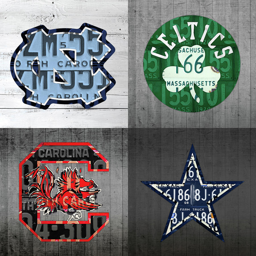 Unc Mixed Media - Custom 4 Team License Plates Sport Art No 1 by Design Turnpike
