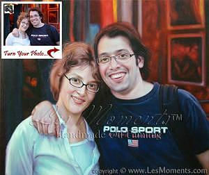 Oil Portrait Painting - Custom Anniversary Couple Oil Painting Based On Your Photo by Les Moments