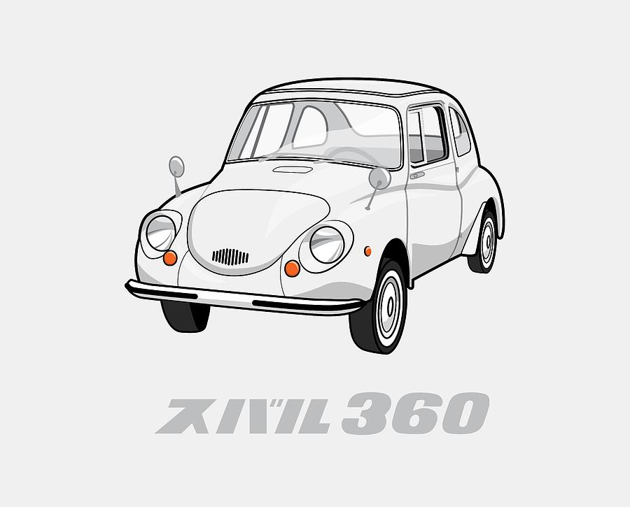 1970 Digital Art - Custom Color Subaru 360 by Ed Jackson
