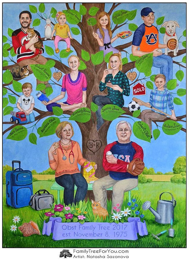 Family Tree Painting Painting - Custom Family Tree Art For Moms 65th Birthday by Natasha Sazonova