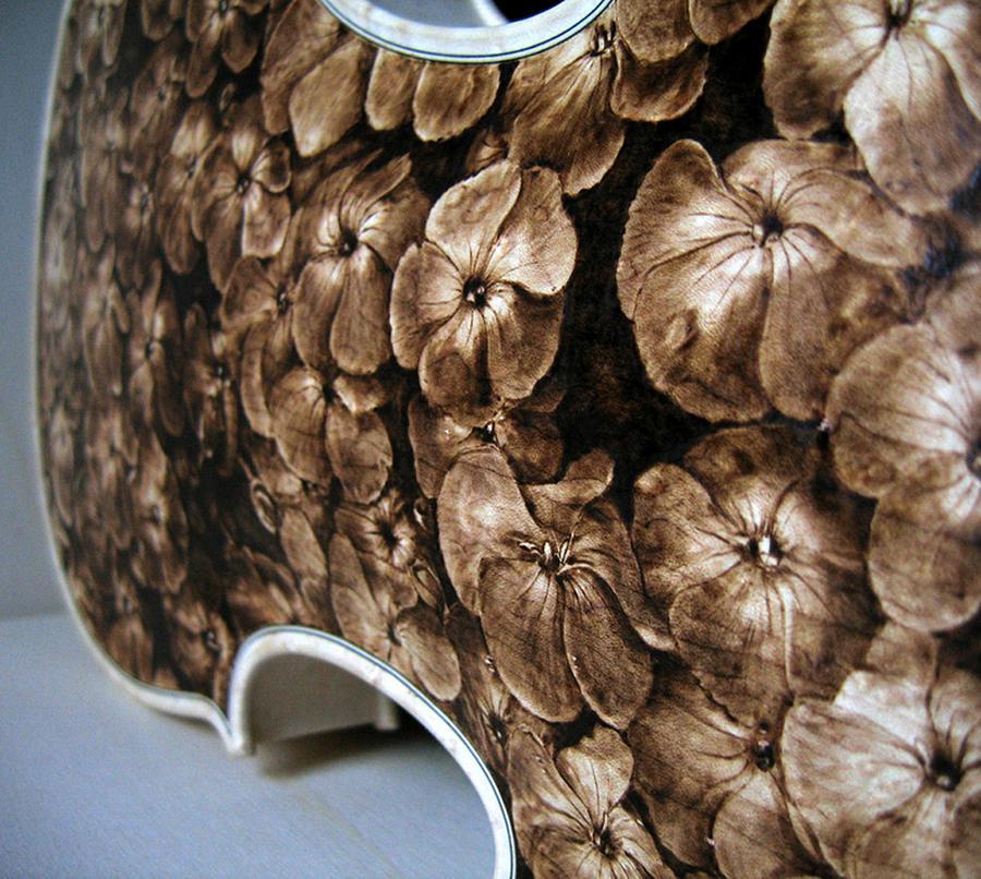 Dino Muradian Pyrography - Custom Gliga Viola - Detail 1 by Dino Muradian