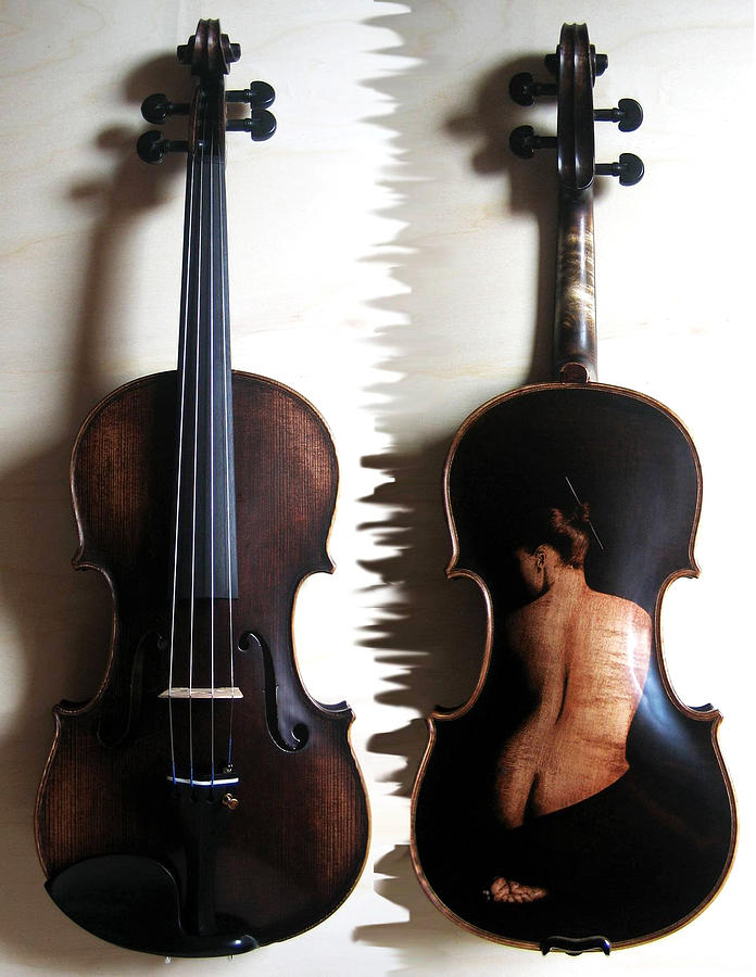 On Wood Pyrography - Custom Gliga Violin 2 by Dino Muradian