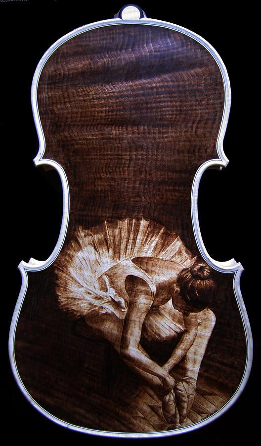Custom Violins Pyrography - Custom Gliga Violin 8 by Dino Muradian