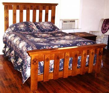 Custom Made Woodburned Solid Oak Queen Size Bed Drawing by Marla Gebhardt
