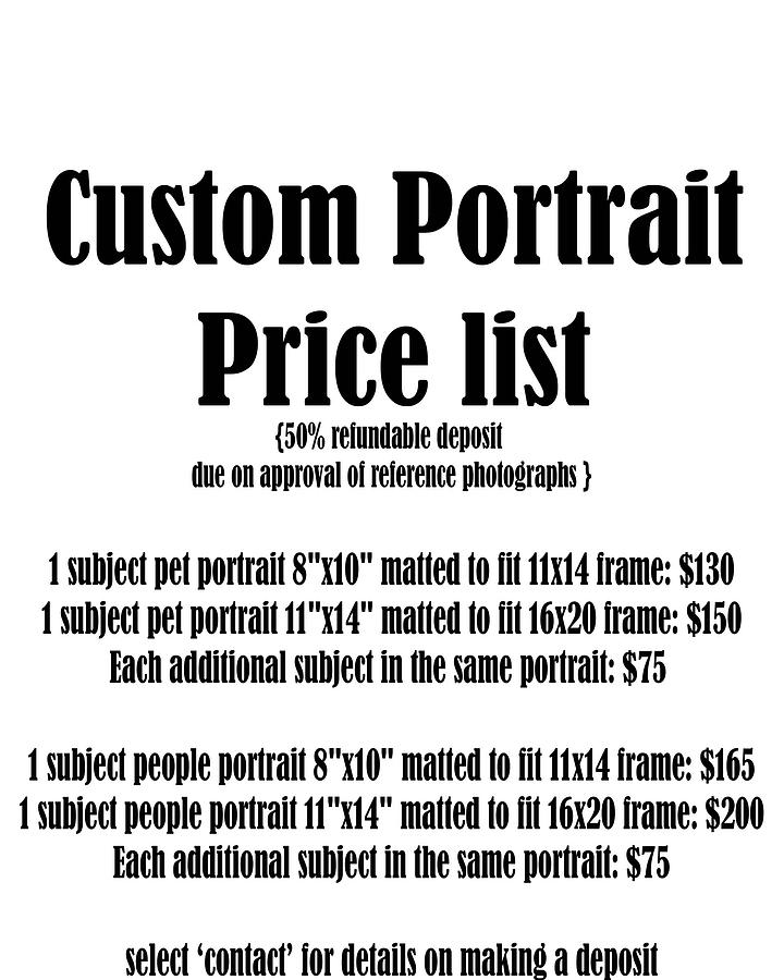 Custom Portrait Price List by Kate Sumners