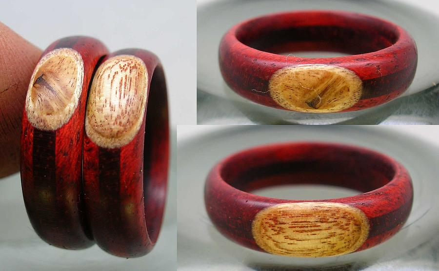 Wood Jewelry - Custom prune inlay by Keith Krautle