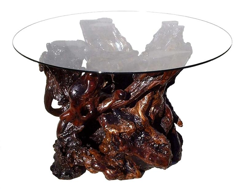 Redwood Furniture Sculpture - Custom Redwood Burl Glass Top Dining Table by Daryl Stokes