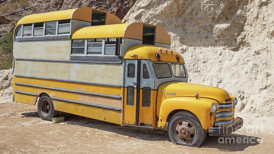 Funny Photograph - Custom School Bus Camper Eldorado Canyon Nevada by Edward Fielding